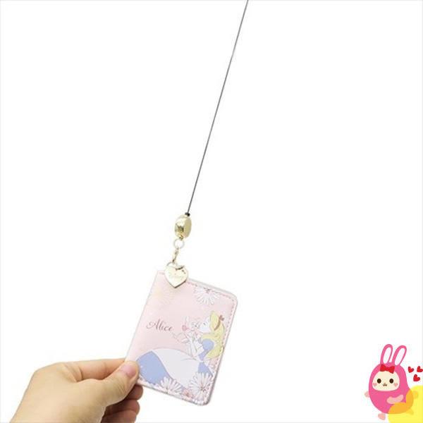 Hamee 日本正版 迪士尼 kiss the girl 折疊多層 伸縮票卡夾 悠遊卡套 證件夾 (愛麗絲) KM00668