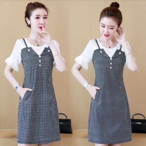 洋裝連身裙中大尺碼L-5XL胖MM圓領喇叭袖拼接假兩件格子裙子NB30B-9301.韓依紡