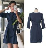 洋裝 韓版復古氣質繫帶收腰棉麻連身裙中長裙 超值價