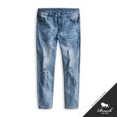 【Roush】 水洗破壞刷痕彈力淺色牛仔褲 -【9901】