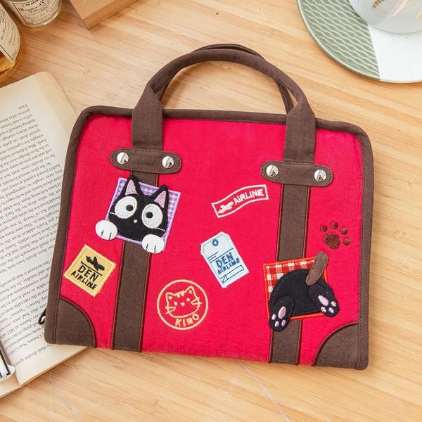 Kiro貓 小黑貓 行李箱造型 多功能 媽媽手冊包/平板收納包【222867】