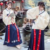 秋冬傳統漢服女中國風重工繡花雙層交領襖裙表演服日常團服套裝洋裝