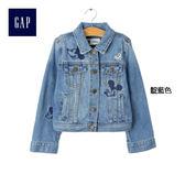 Gap女童 迪士尼寶貝系列純棉米奇刺繡長袖牛仔夾克 423879-靛藍色