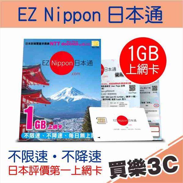 EZ Nippon 日本通 1GB 上網卡,自開卡日起連續使用15日,日本評比第一,極速 NTT docomo 4G 網路