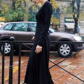 長袖小禮服秋冬新款復古連身裙修身顯瘦綁帶長裙9863GD3F-326-B朵維思