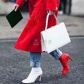 踝靴 2017秋冬新品方頭短靴歐美簡約高跟及踝靴百搭氣質裸靴女399-1 俏女孩