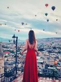 雪紡裙-女裝新款吊帶紅色性感露背沙灘裙子雪紡海邊度假長裙 花間公主