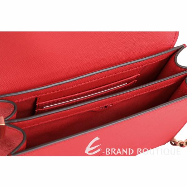 TORY BURCH Robinson 迷你款 防刮皮革鍊帶風琴包(亮紅色) 1920747-54