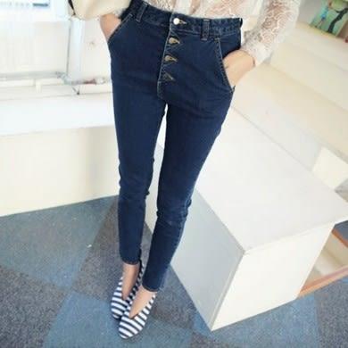【9835】高腰修身排釦牛仔褲 小腳褲