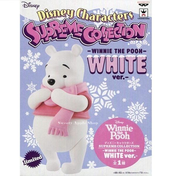 日本限定 迪士尼 SUPERME COLLECTION WHITE 白色 小熊維尼 / 雪白維尼 圍巾 模型公仔
