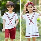 韓版胸前條紋百摺邊短袖套裝親子裝(小孩)