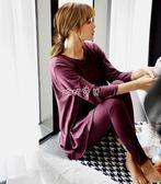 孕婦家居服 睡衣長袖寬鬆套裝大碼女士韓國家居服胖MM孕婦月子 珍妮寶貝
