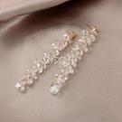 耳環 水晶流蘇耳環新款潮耳釘純銀銀針耳飾女韓國氣質網紅耳墜