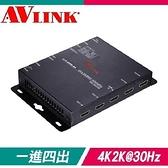 【南紡購物中心】AVLINK HS-1414IW HDMI一進四出訊號分配器