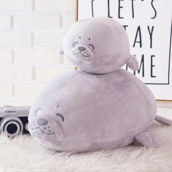 可愛海豹絨毛玩具玩偶娃娃抱枕午睡枕靠墊45CM(現+預)
