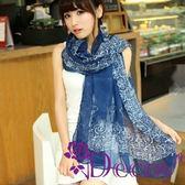 【Decoy】復古青花瓷*雪紡仿真絲圍巾/藍 ◆86小舖 ◆
