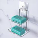 免釘貼不鏽鋼雙層肥皂架【JL精品工坊】 免釘貼 肥皂盤 香皂架 肥皂盒 置物架 收納架