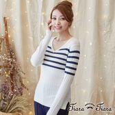 【Tiara Tiara】激安 直紋針織V領長袖上衣(條紋/灰/棕/黑)