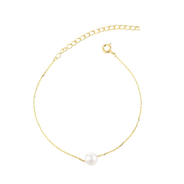 316L醫療鋼 單顆小貝珍珠 極細腳鍊-金、銀、玫瑰金 防抗過敏 不退色