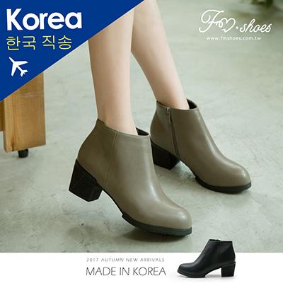 靴.素面粗跟短靴-FM時尚美鞋-韓國精選.young