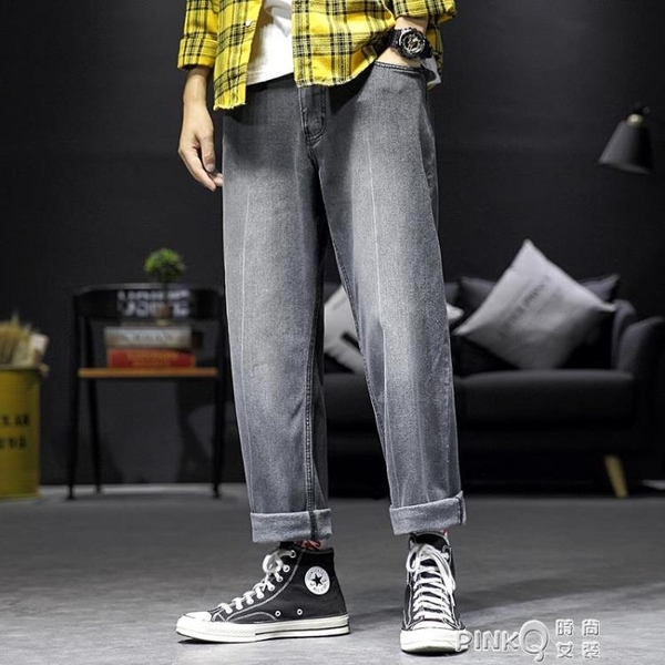 牛仔褲男寬直筒百搭老爹闊腿長褲夏季薄款韓版潮流男士褲子 (pinkq 時尚女裝)