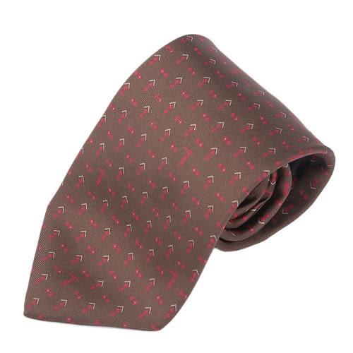 TRUSSARDI 碎雙菱圖領帶(深咖/紅)870204-2