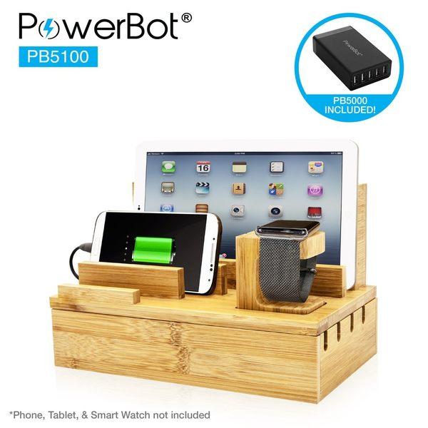 美國聲霸PowerBot PB5100 竹製收納站 贈 PB5000 快速充電器 (40瓦 8A 5埠)