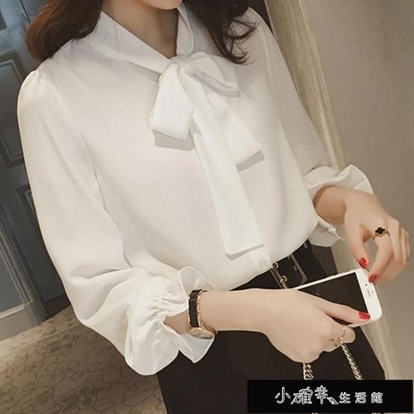 襯衫 新款韓版百搭寬鬆蝴蝶結係帶雪紡白襯衫女長袖打底襯衣【2021歡樂購】