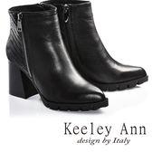 ★2016秋冬★Keeley Ann歐美穿搭異材拼接全真皮尖頭粗跟短靴(黑色)  -Ann系列