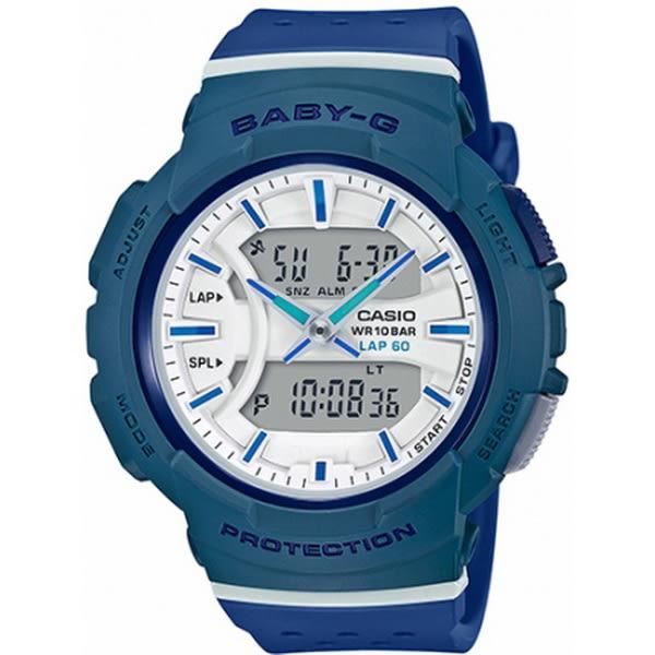 【台南 時代鐘錶 CASIO】Baby-G 宏崑公司貨 BGA-240-2A2 慢跑運動雙顯多功能錶款
