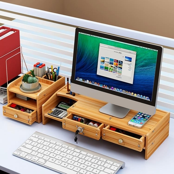 螢幕架 臺式電腦增高架辦公桌面收納置物架顯示器屏幕墊高底座支架TW【快速出貨八折鉅惠】