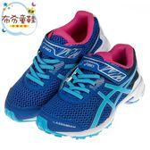 《布布童鞋》asics亞瑟士藍銀色競速兒童機能運動鞋(19~24公分) [ J9E018B ]