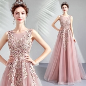 伴娘服婚紗 柔美粉色新娘結婚敬酒服 婚紗晚宴年會演出禮服洋裝  店慶降價