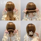 盤髪器 2021韓國代購春夏丸子頭盤髮器網紅懶人歐根紗花朵編髮造型神器女