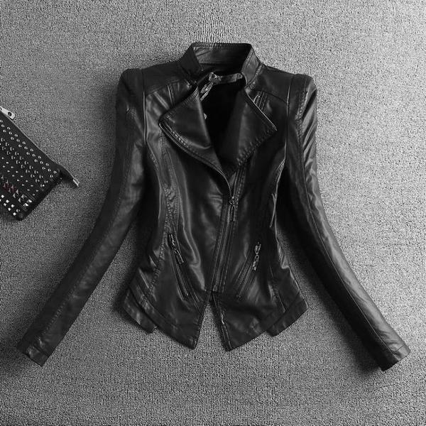 全館83折 2018秋冬新品加厚pu皮衣女士短款韓版修身大碼短外套機車服夾克潮