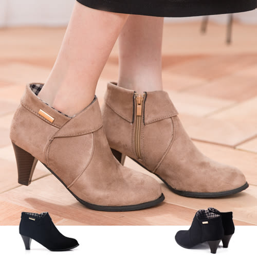 女款 時尚飾品翻領側拉鍊粗跟踝靴 短靴 馬靴 -2色 59鞋廊