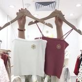 2019夏季新款韓版刺繡小花水波紋細肩帶彈力無袖針織背心