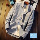 【Y212】shiny藍格子-輕熟休閒.秋冬季純色修身長袖襯衫上衣