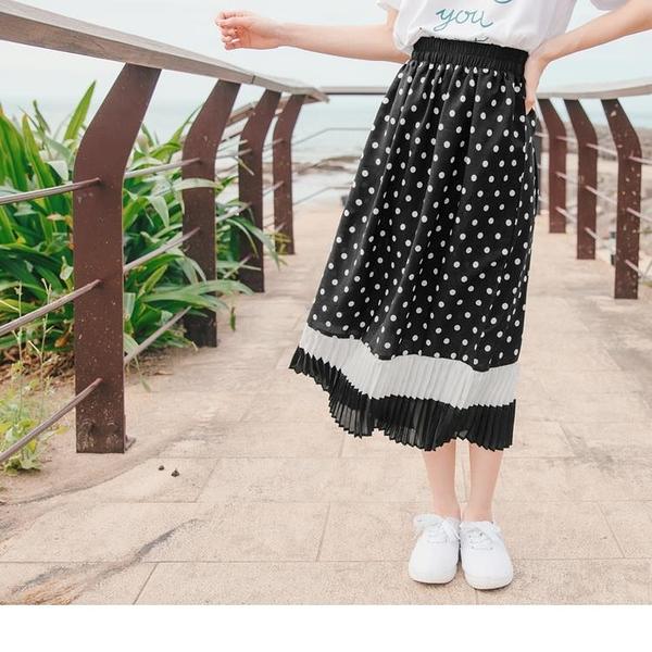 《CA1960》復古圓點拼接層次配色百褶腰鬆緊長裙 OrangeBear
