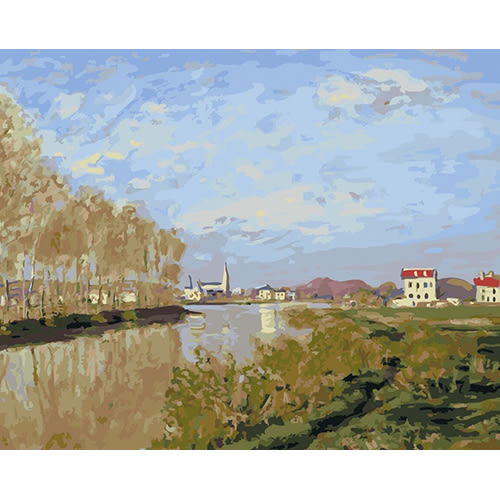 【DT015】莫內 亞嘉杜的塞納河 DIY 數字 油畫 彩繪