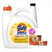 美國 Tide濃縮洗衣膏-敏感肌膚(138oz)*1+洗衣槽洗劑(75g)*8包