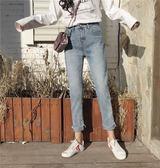 牛仔九分褲 新款復古牛女學生瘦卷邊褲百搭JA166【歐巴生活館】