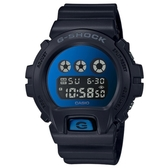 【CASIO】 G-SHOCK Tough金屬質感鏡面電子錶-黑X金屬藍(DW-6900MMA-2)