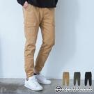 【OBIYUAN】工作褲 情侶款 多口袋 剪裁 縮口褲 素面休閒褲 共3色【ES88003】