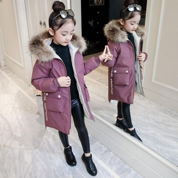 女兒童裝中大女童潮流棉服外套 女孩連帽中長夾棉女童外套羽絨服 韓加厚保暖秋冬洋氣加絨夾克