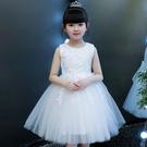 女童禮服 女童公主裙兒童婚紗夏洋氣女孩花童小主持人禮服蓬蓬紗裙白演出服-Ballet朵朵