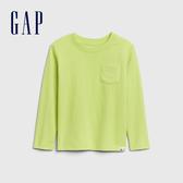 Gap男幼童 活力亮色圓領休閒長袖T恤 577619-黃綠色