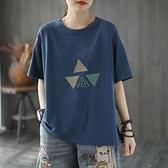 純棉小衫棉麻寬鬆女士短袖女夏上衣韓版時尚全新款亞麻棉媽媽T恤