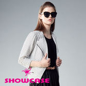 【SHOWCASE】帥氣風格立體剪裁條紋斜拉鍊修身小外套(白)