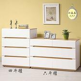 【水晶晶家具/傢俱首選】ZX1141-4露西4呎木紋白低甲醛六斗櫃(右圖)